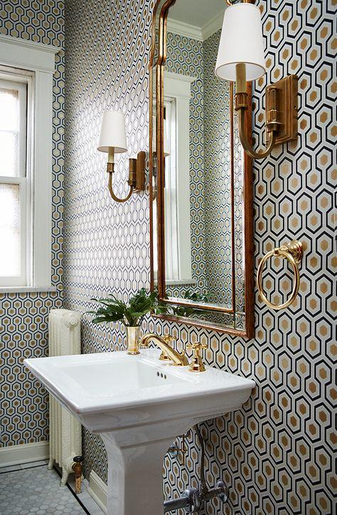 Geometric Shapes Bathroom Wallpaper