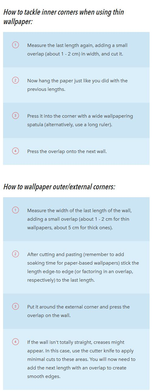 How to wallpaper in corners Instructions